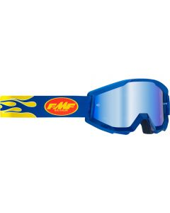 FMF POWERCORE GOGGLE FLAME NAVY - MIRROR BLUE LENS